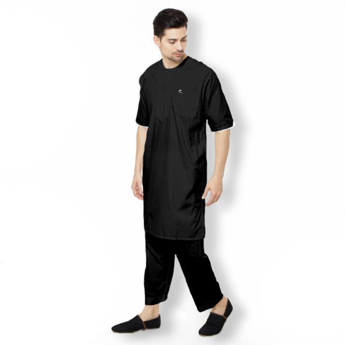 SETELAN Gamis ARABI Pria - Pakaian Muslim Pria Tangan Pendek Al-Isra  - Baju Koko - Setelan Baju Gamis