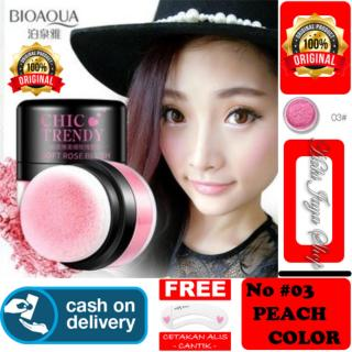 HOKI COD - 03 PEACH COLOR - Bioaqua Original Perona Pipi CHIC TRENDY Soft Rose Blush On Powder Original + Gratis Cetak Alis Cantik Premium - 1 Pcs thumbnail