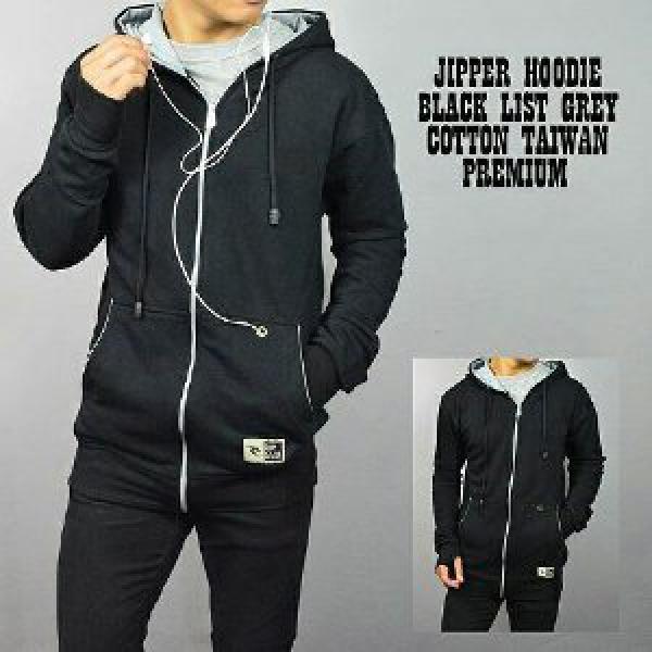 Jaket Sweater Jipper Hoodie Black list Grey