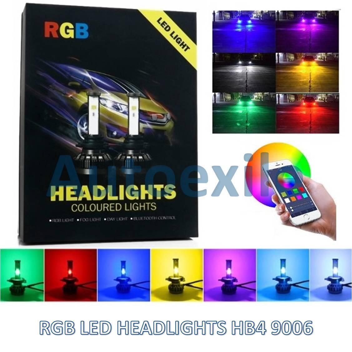 Lampu Mobil RGB LED Warna Warni HB4 9006 40W 6000K Smartphone Colour Control Putih Merah Hijau Biru Terang Avanza Fortuner CRV Innova