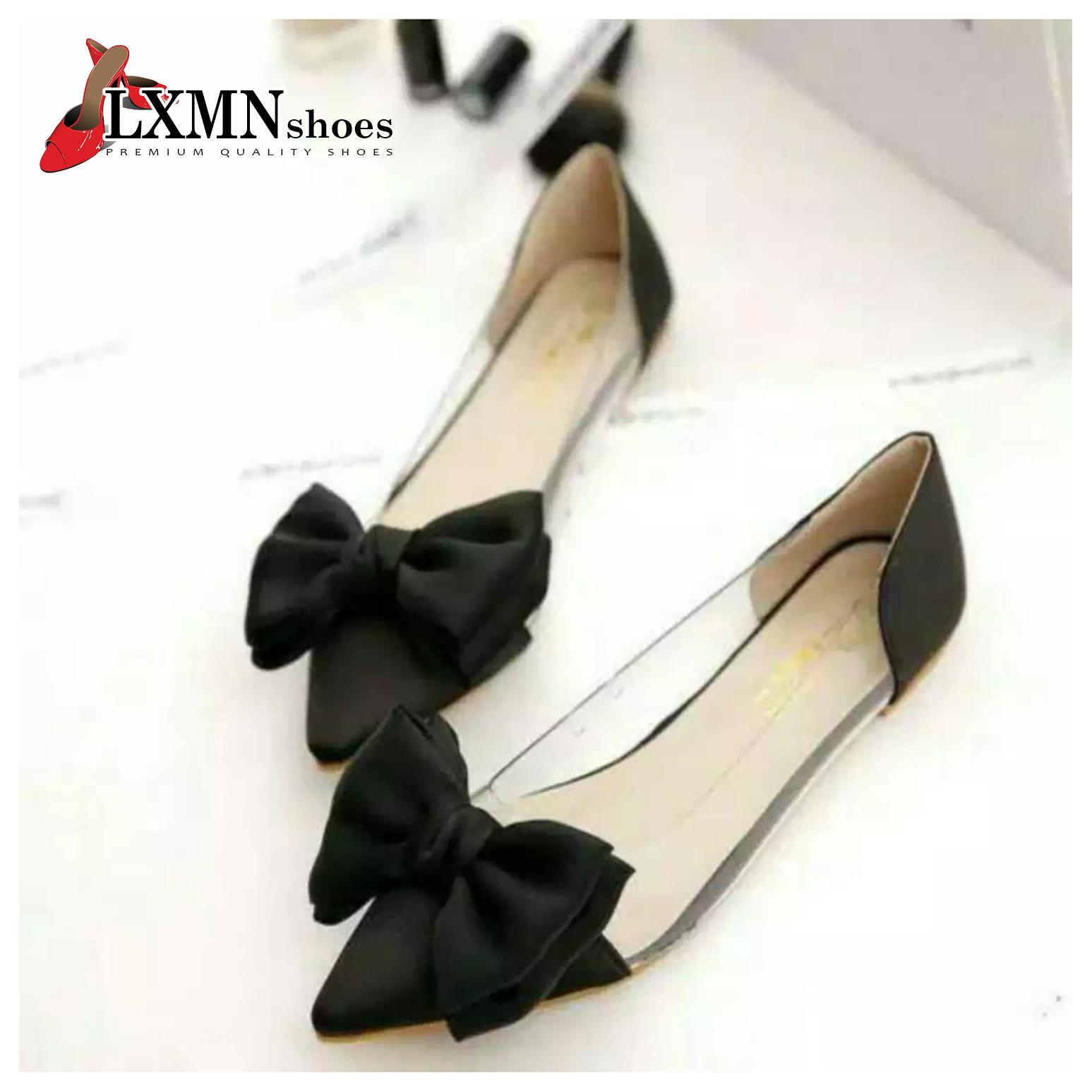 Flatshoes / Sepatu Flat Mika Satin Model Pita Hitam Murah IVNshoes - FL03