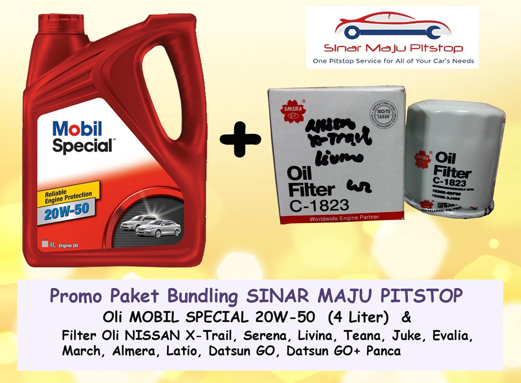Promo Paket Bundling Oli MOBIL SPECIAL 20W-50 API SN 4 LITER & Filter Oli NISSAN JUKE & NISSAN GRAND LIVINA ORIGINAL