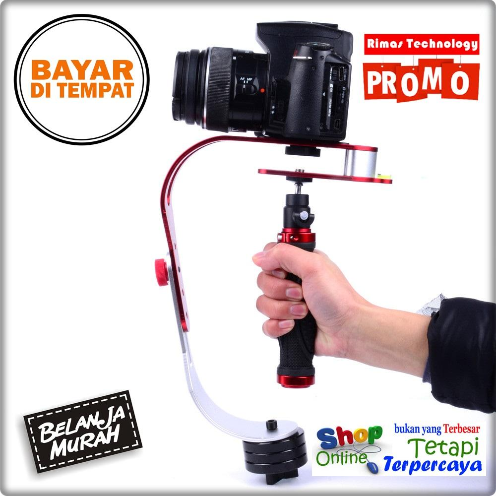 Rimas Handheld Video Camera Stabilizer For DSLR GoPro Xiaomi Yi - Red / Merah / Black / Hitam Penyeimbang Keseimbangan Kamera Camera Cam Anti Distorsi Goyang Berkualitas