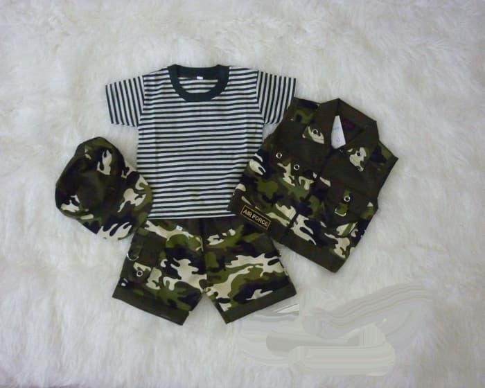 Baju Setelan Anak Bayi Rompi Tentara Topi - Cool Army