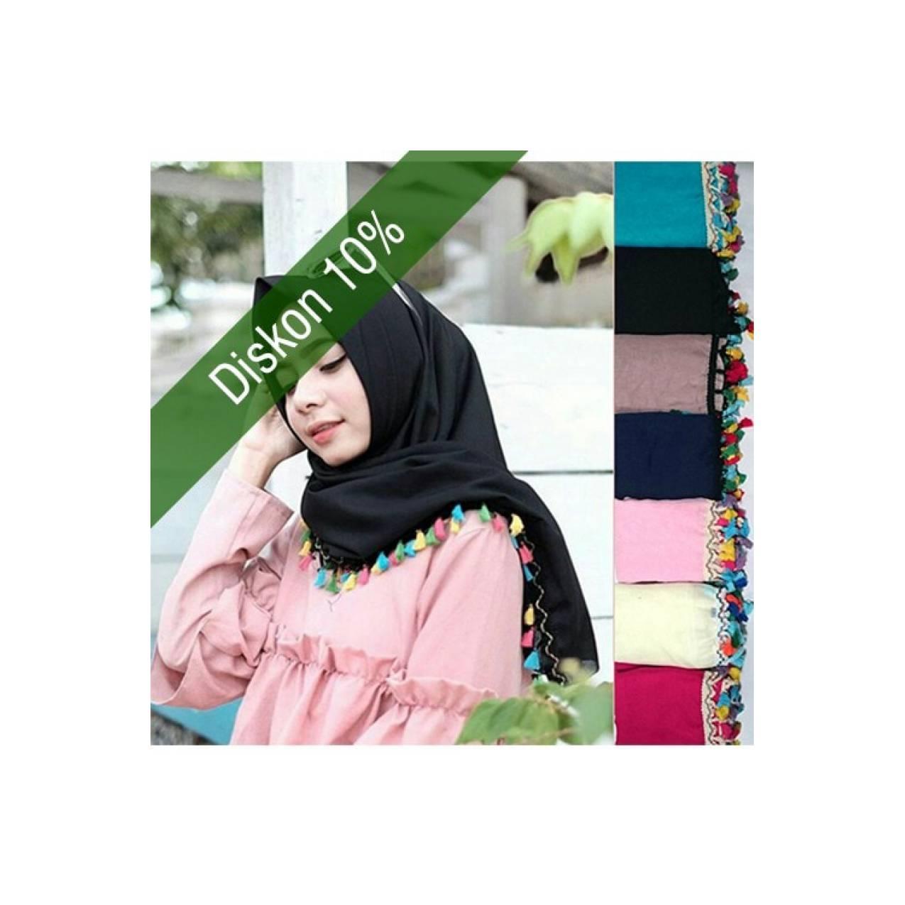 Jilbab Hijab Syari Segiempat Tassel Ekonomis Renda Lokal HJ63