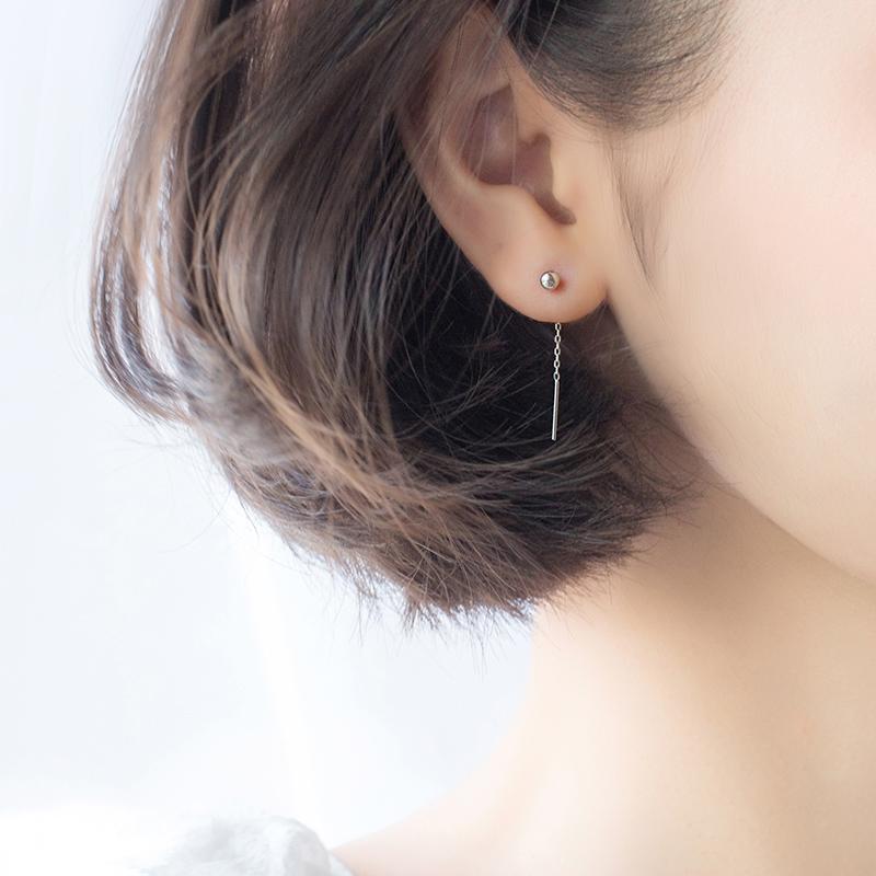 A'roch Garis S925 Jamur Kuping Putih Anting Mutiara Rantai Korea Gaya Busana Perempuan Manik-manik Cahaya