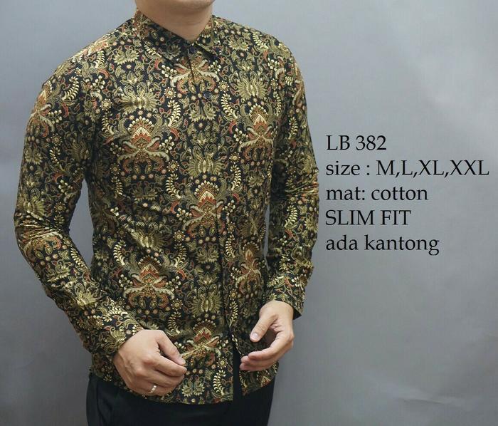 Baju Kemeja Baju Batik Model Terbaru Slimfit Tangan Panjang Pria LB 382
