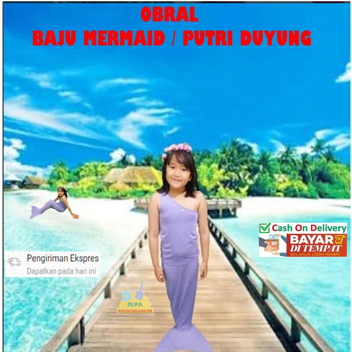 Baju Renang Baju Mermaid Lengan Pendek Baju Putri Duyung Kostum Mermaid Baju Anak Ekor Ikan