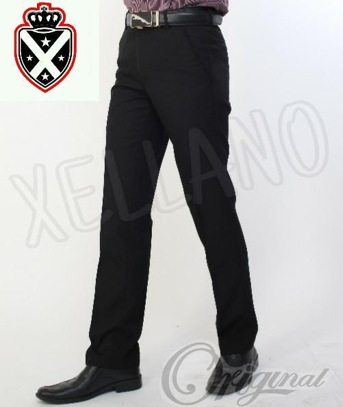 Xellano - Celana Formal Panjang Pria Bahan Anti Air Stretch Slimfit Xellano Vallen Hitam - Celana Kerja Kantor Bahan 28-36