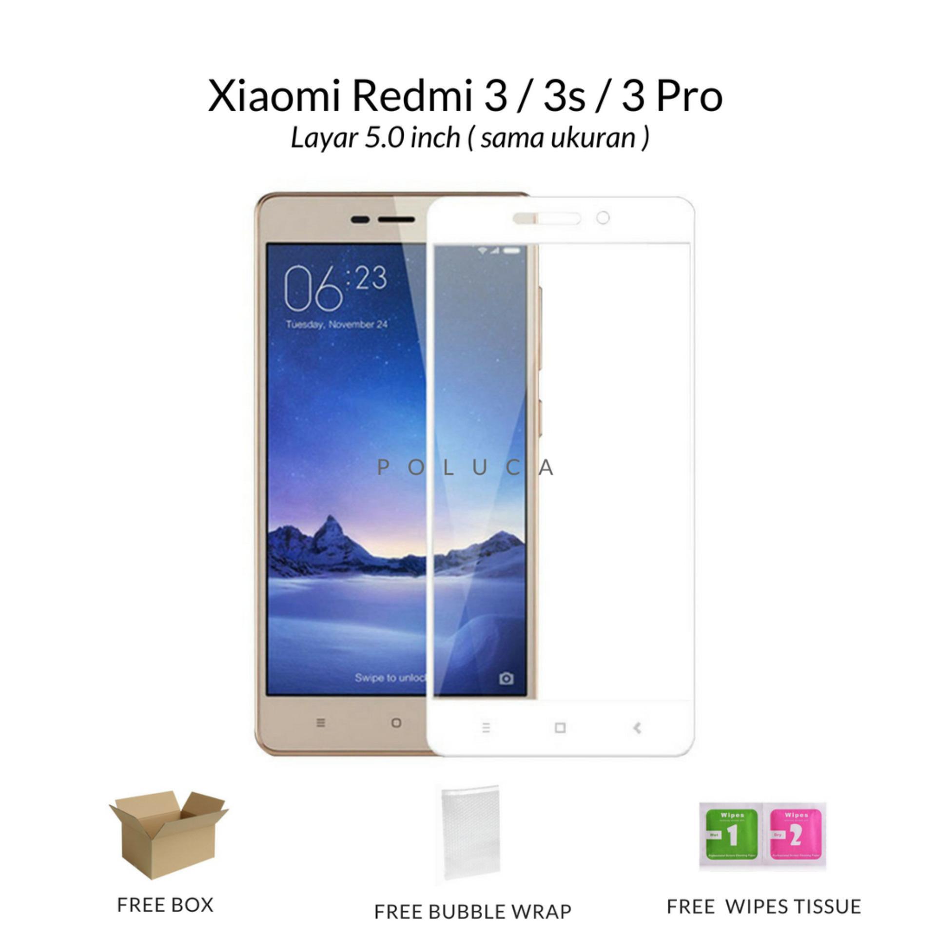 Poluca Tempered Glass Screen Protector Full Cover Warna For Xiaomi Redmi 3 / 3s / 3