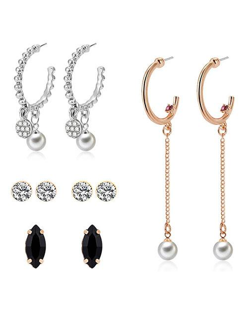 LRC Anting Set Fashion Gold Color+silver Color Pearls&diamond Decorated Earrings(4pcs)