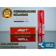 Hybrid Tech - Baterai AWT MERAH IMR 18650 3000 Mah 3.7V 40A FREE LIQUID 10ML
