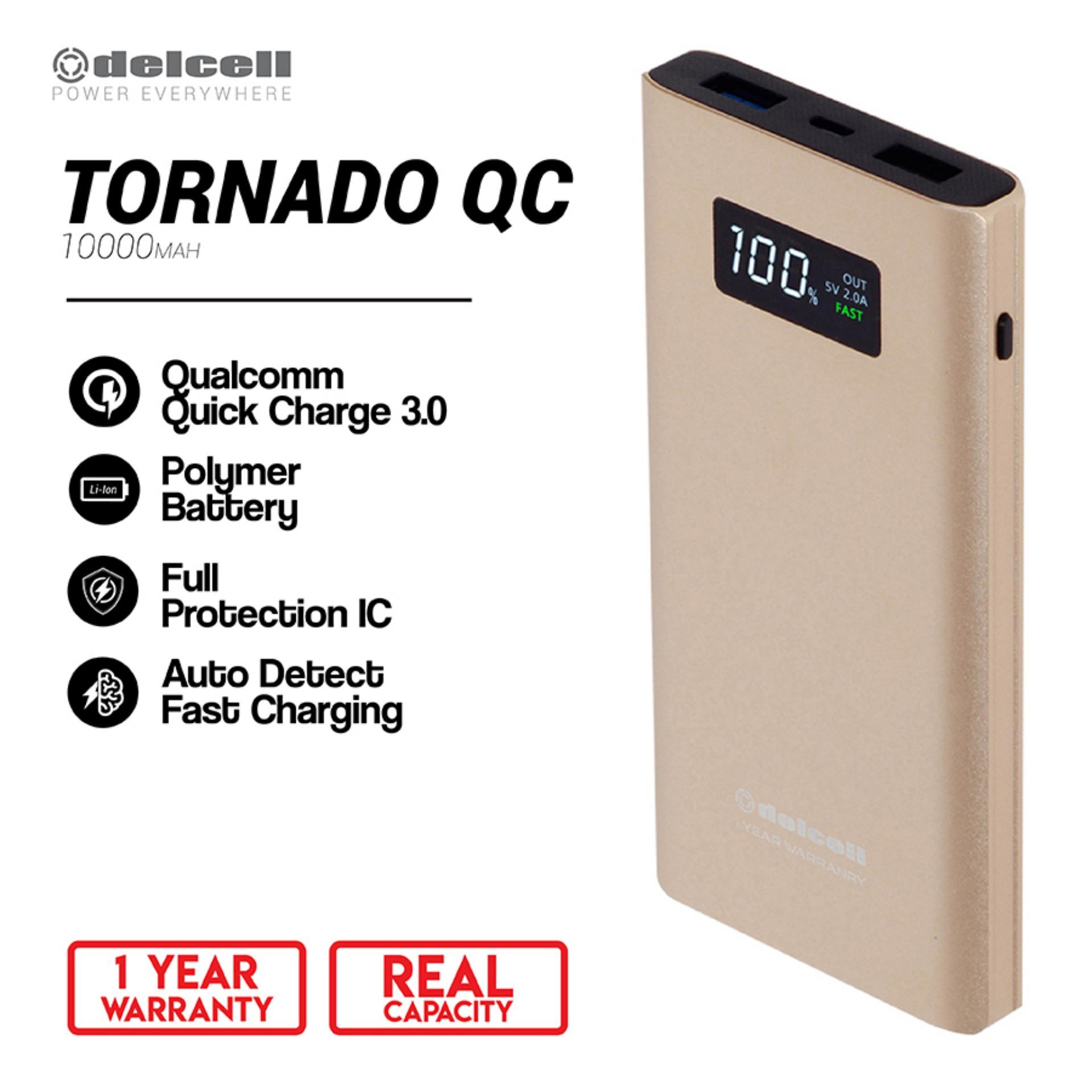 Delcell 10000mAh Powerbank TORNADO  Support Quick Charge 3.0A Real Capacity Garansi Resmi 1 Tahun Polymer Battery Power Bank Berkualitas - Gold
