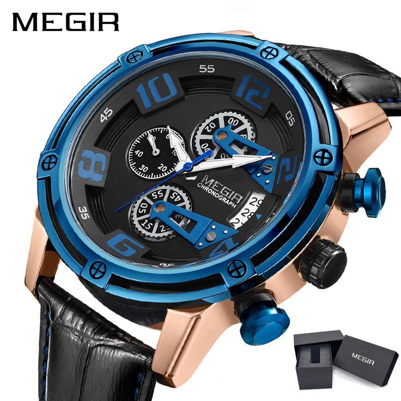 MEGIR merek mewah fashion baru hitam emas biru klasik pria kuarsa tali kulit menonton olahraga tahan