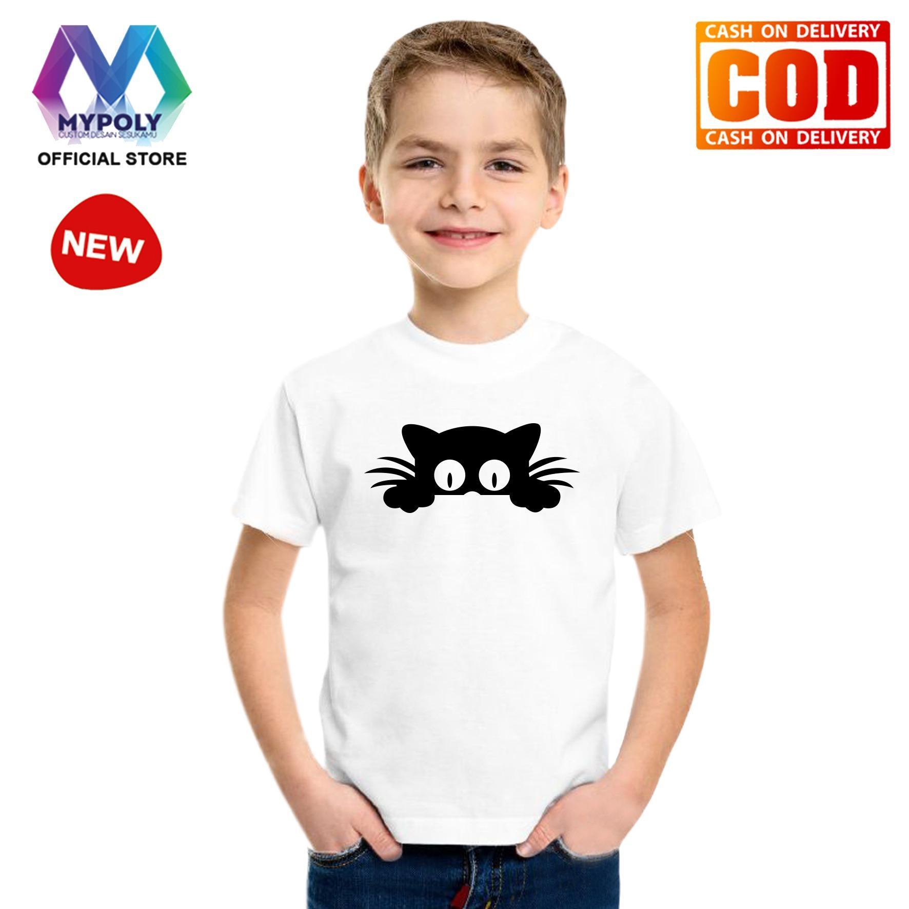 Kaos Premium Mypoly Anak Pria laki-laki AP / Baju Couple Family Keluarga / Tshirt distro / Fashion atasan / Kaos Anime / Kaos Animasi / Kaos Super Hero / Kaos Kartun / Kaos Cartoon / Kaos Lucu / Kaos Gambar Karakter / Kaos Anak Cat Look Up