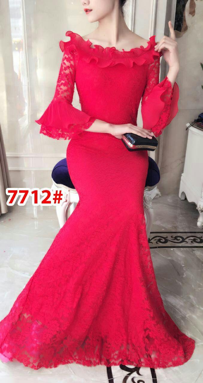 7712# baju pesta import  / gaun pesta import / baju pesta brokat /longdress fashion import / gaunpanjang