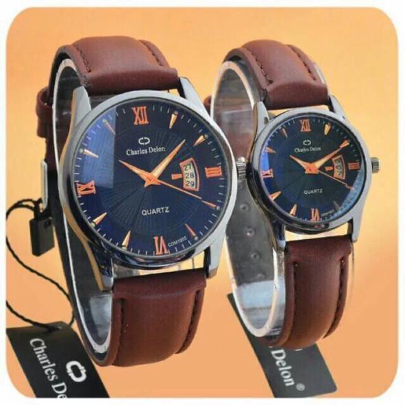 Jam tangan charles delon couple ORIGINAL ada TANGGAL bisa di bawa renang HIGH quality