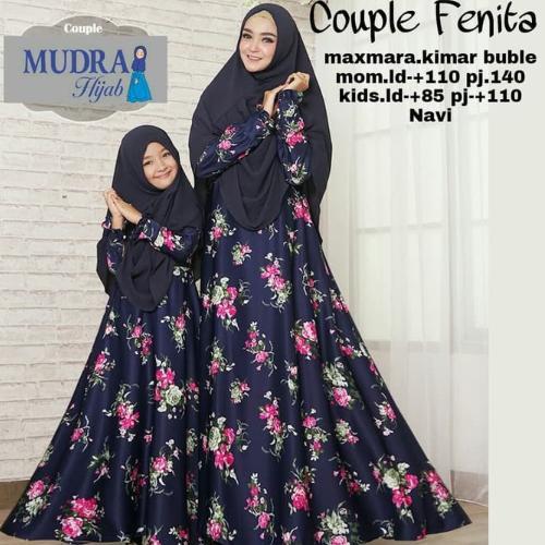 Baju Couple Ibu Anak Gamis Syari Dress Maxmara Set Khimar Fenita