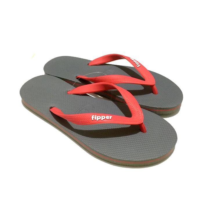 Promo: Sandal Fipper Slick Grey Red - ready stock