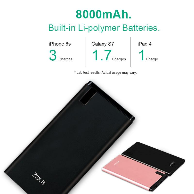 Powerbank ZOLA Blade Kapasitas Real 8000 mAh Premium Metal Fast Charging 2.1A - Rose Gold