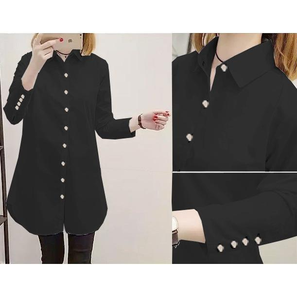 mamamia collection - kemeja wanita lengan panjang aqua button / tunik wanita / blouse sabrina / kemeja polos / kemeja kantoran / baju lebaran