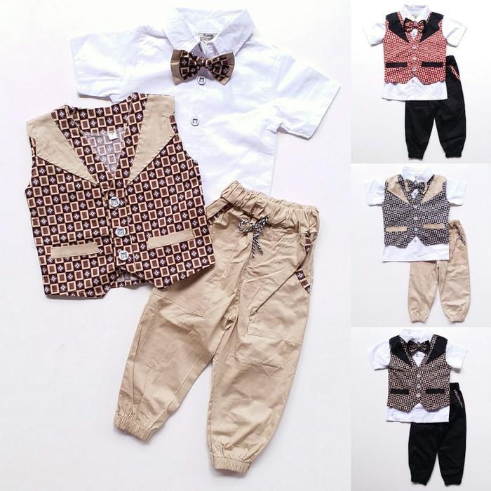 Promo Baju Setelan Pesta Anak Laki Kemeja Rompi Batik Kotak Celana Jogger Berkualitas