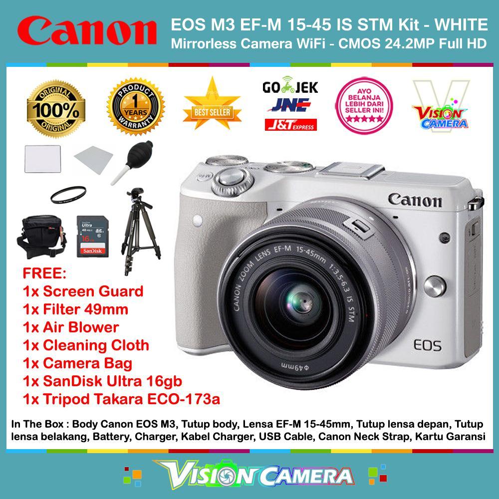 CANON EOS M3 EF-M 15-45 IS STM Kit Kamera Mirrorless M3 CMOS