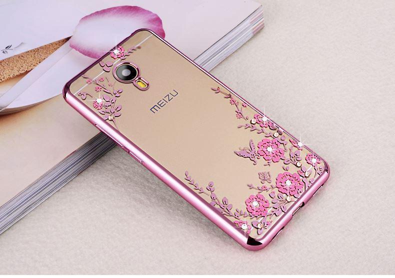 Rp 48.364 1 Pc/lot Soft TPU Flower Diamond Lace Gold Plating Secret Garden Case for Meizu ...