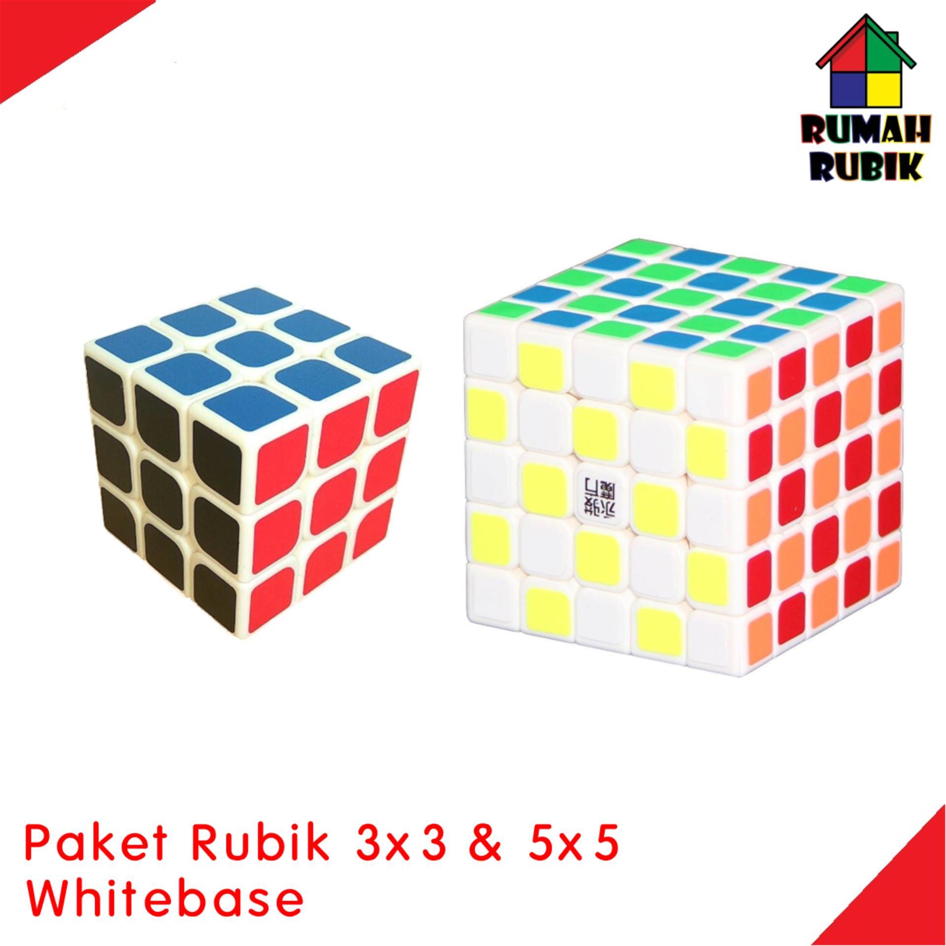 Paket YJ 3x3 Brains WHITEBASE + 5x5 Yuchuang WHITEBASE / Speedcube