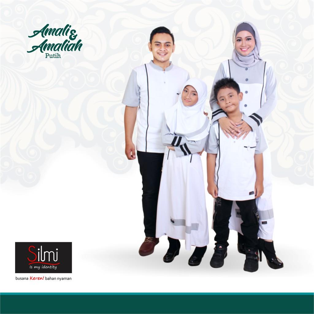 Baju Couple Keluarga Busana Muslim Sarimbit Gamis Syari Koko Pria Anak Wanita Lebaran / AMALI AMALIA (Gamis L)