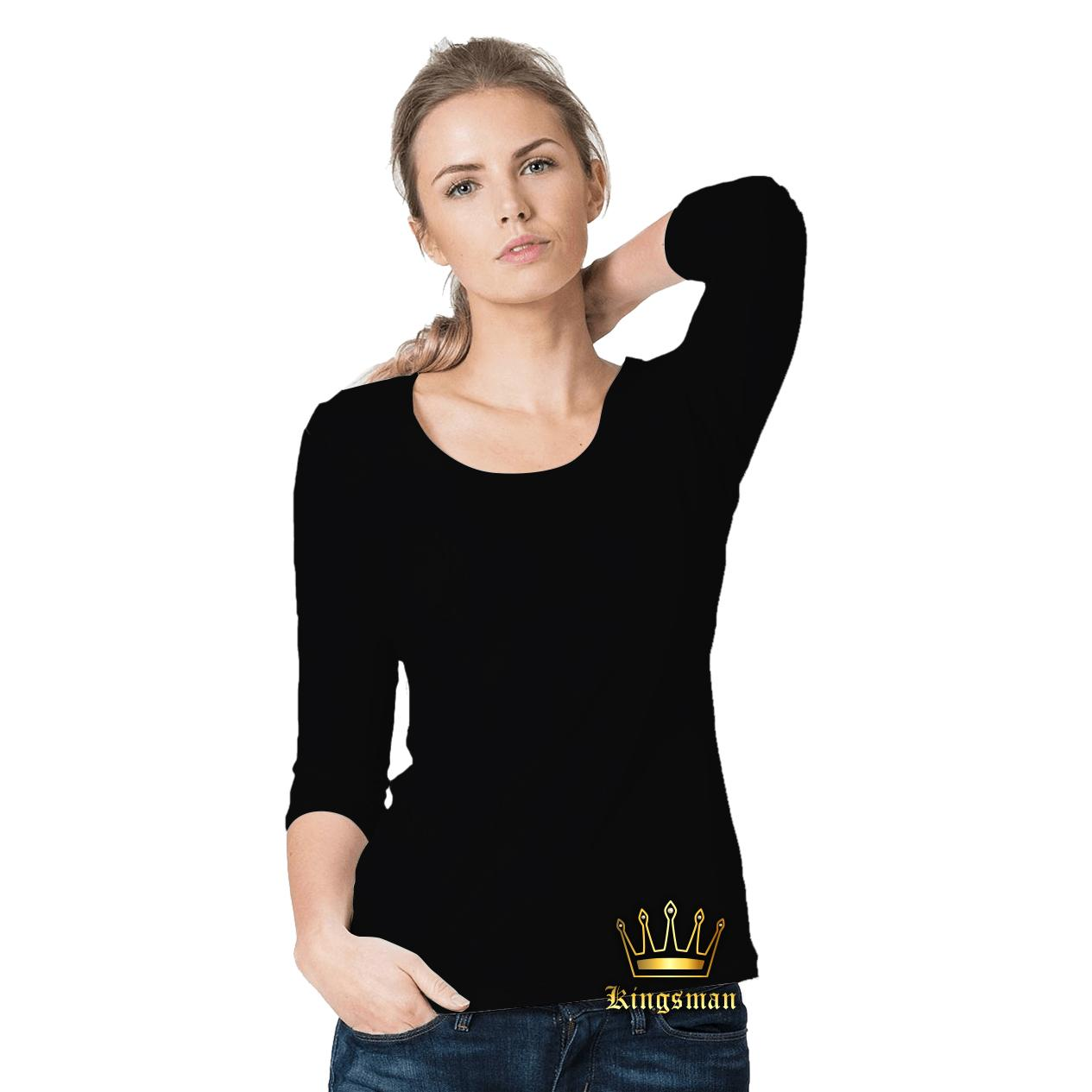Kingsman Kaos Wanita Lengan Panjang Premium Polos - Plain T-Shirt Distro-Hitam