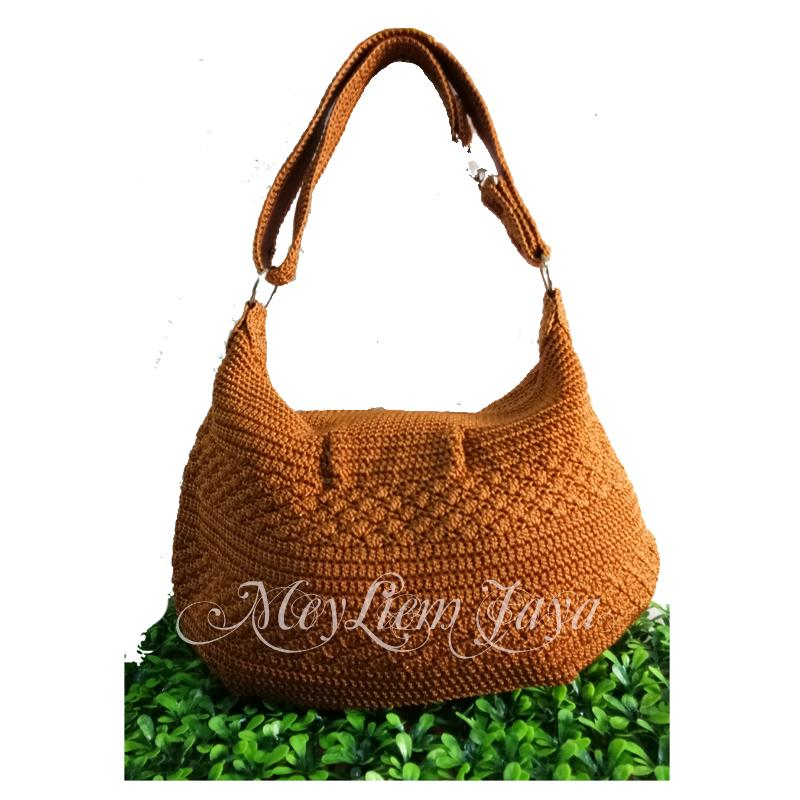 Larisso Shop Tas Rajut Hobo Balon Mini - Tembaga