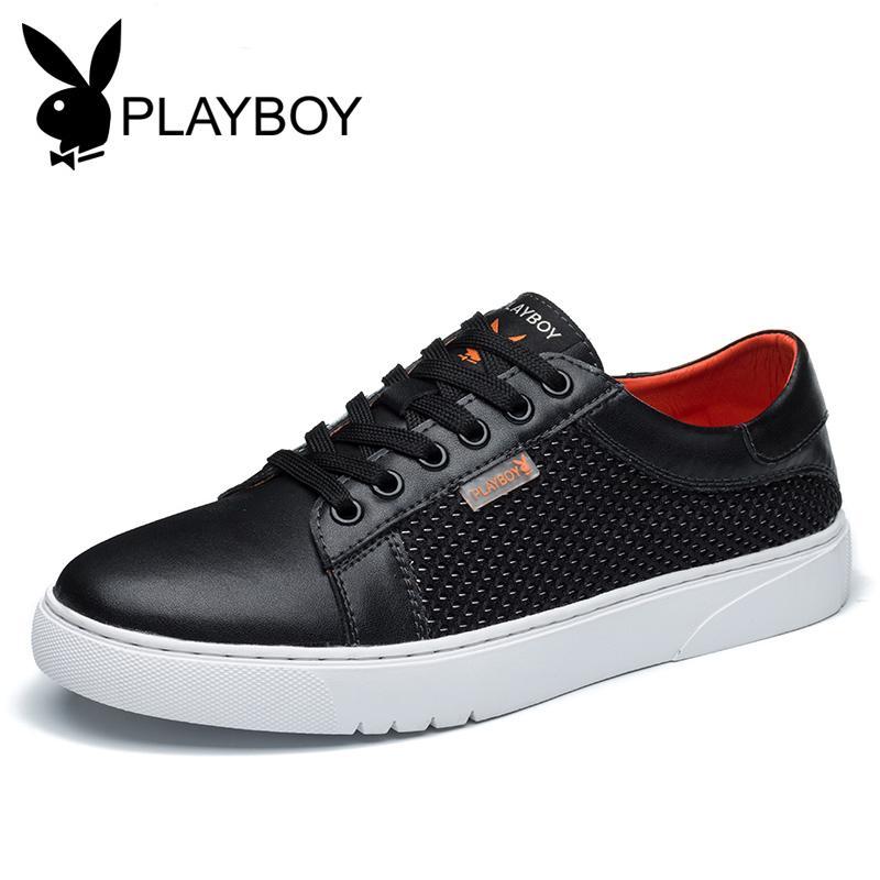 Playboy Putih Musim Panas Sepatu Bernapas Sepatu Sepatu Pria (Hitam)