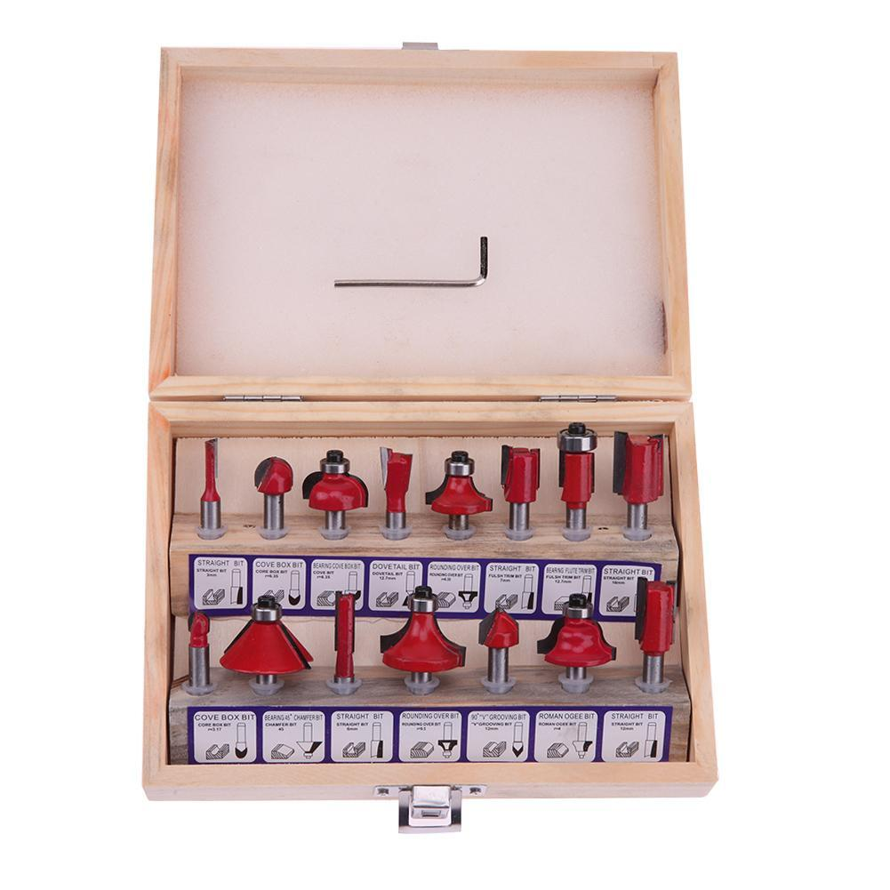 15pcs Router Bit Set Kit Shank Tungsten Carbide Rotary Tool Wood Case Box - intl