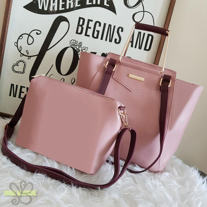 Nana Blanche Ashley Tas 2in 1 Tenteng Sandang dan Selempang - Pale Pink