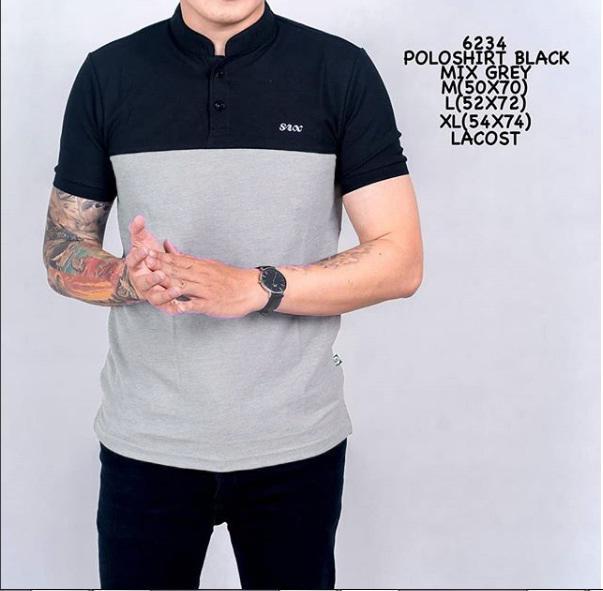 the most Kaos Polo shirt sanghai hitam mix abu  pria baju polo casual slimfit distro bandung termurah terlaris atasan santai cowok adem bahan lacost berkualitas