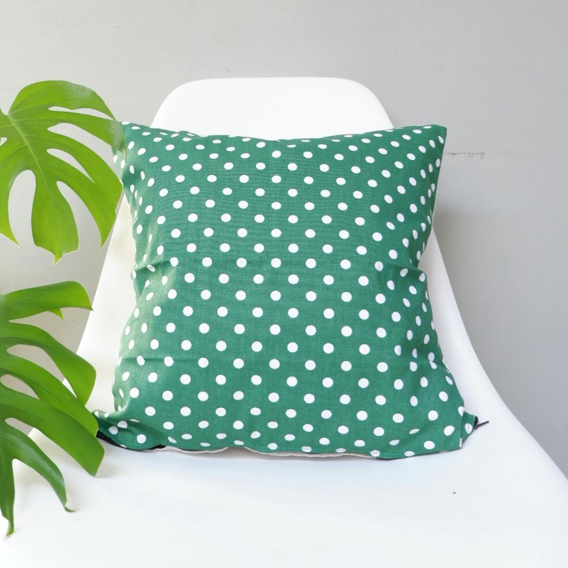 Cushion Cover / Sarung Bantal Sofa - Polkadot Hijau
