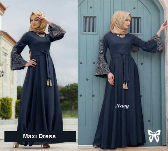 Flavia Store Maxi Dress Lengan Panjang Terompet Bordir FS0711 - NAVY BIRU DONGKER / Gamis Syari / Gaun Pesta Muslimah / Baju Muslim Wanita Syar'i / Srmadina