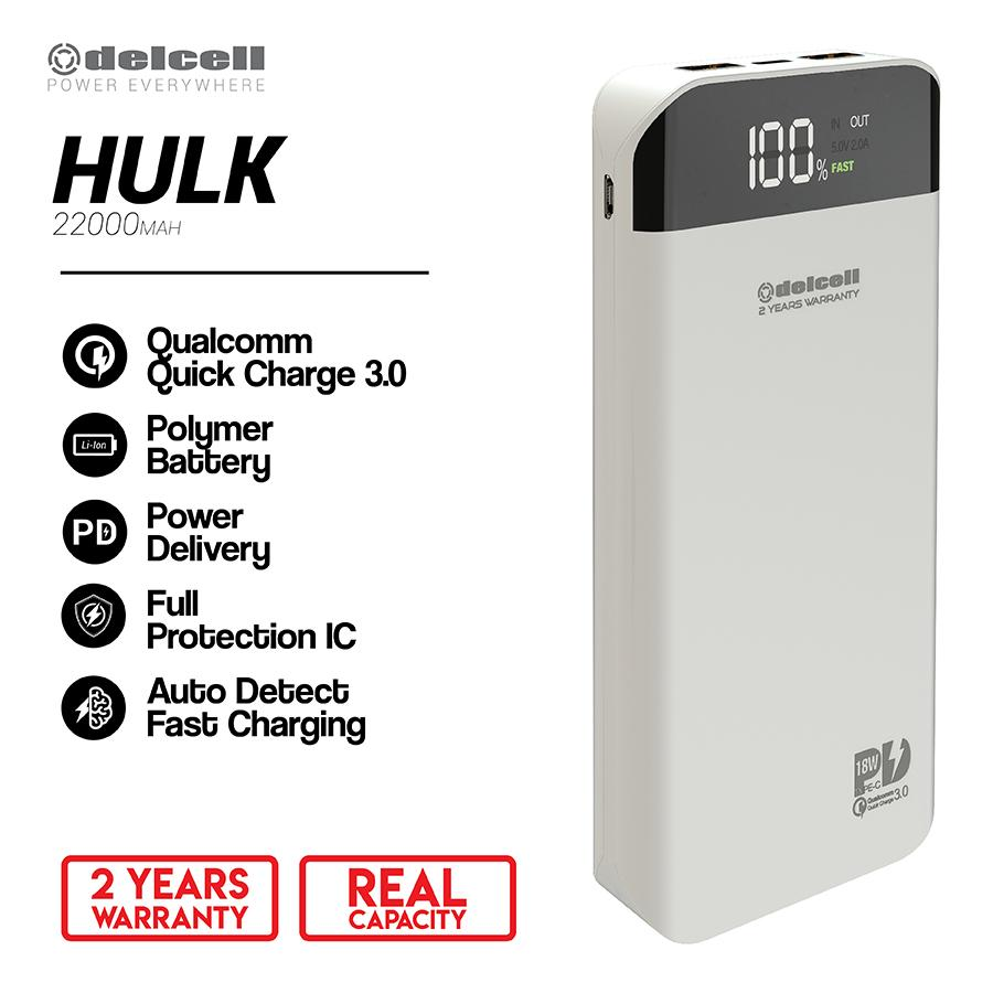 Buy Sell Cheapest Delcell 22000mah Powerbank Best Quality Product Eco 10000mah Real Capacity Free 1pcs Iring Random Colour Hulk Digital Display Support Power Delivery Dan Quick Charge 3a Garansi