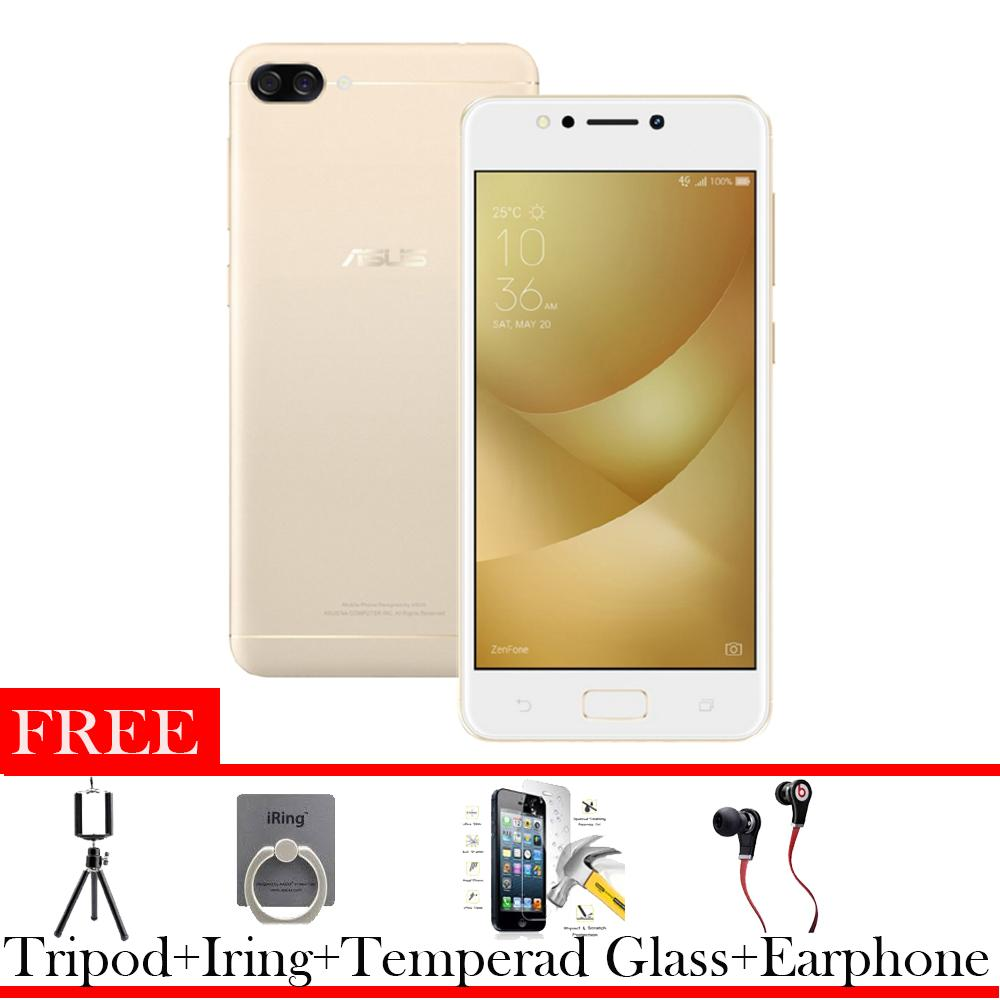 Asus Zenfone 4 Max ZC520KL 3/32 4G Murah Free Earphone + Tripod +I Ring +Tempered Glass