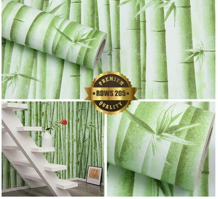 Henddia Walpaper Sticker Motif Bambu Hijau Ukuran 45cm x 10m