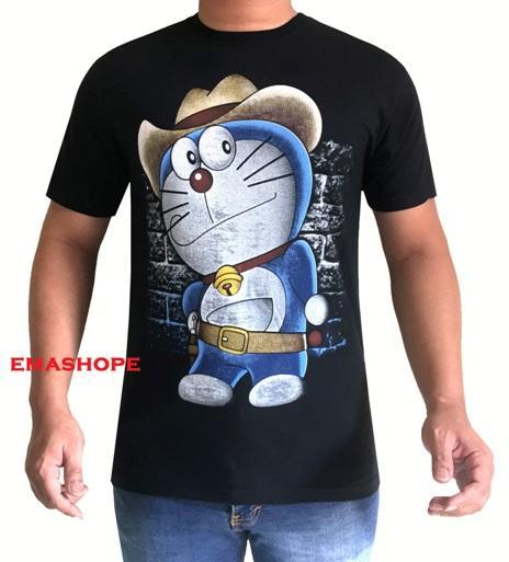 Ema Shope - Kaos Distro DORAEMON TOPI T-Shirt Pria Wanita Fashion 100% Soft Cotton Combed 30s Atasan Baju Kaos Cowok Cewek T-shirt 3D Terbaru Seni Kata Gambar Sablonan  Bagus Keren Modis Kasual - Hitam
