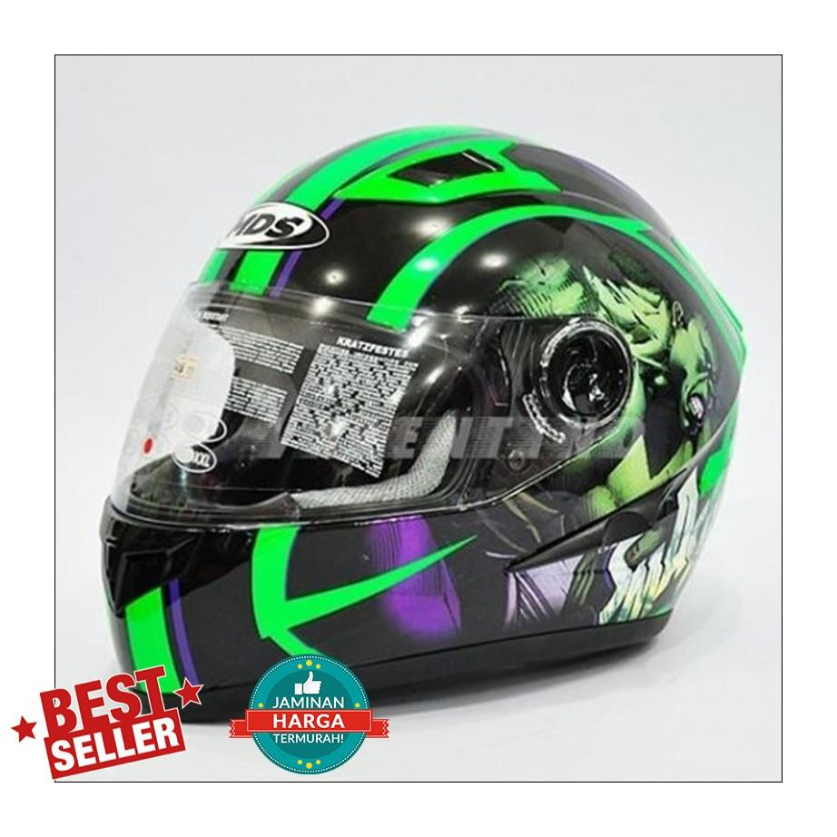 Helm MDS Provent Black Green Full Face Double Visor Hulk Avenger