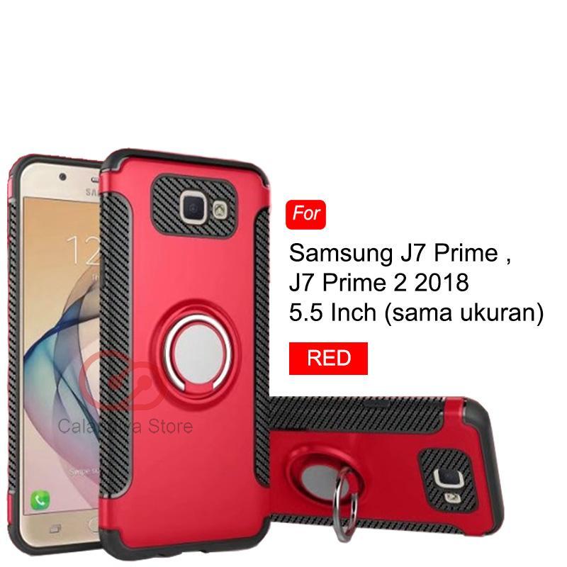 Calandiva Case Samsung Galaxy J7 Prime , On7 (2016), G610f danJ7 Prime 2 , J7 Prime 2018 , G611FF/DS (sama ukuran) Casing Ring Carbon Kickstand Hybrid Premium Quality Grade A