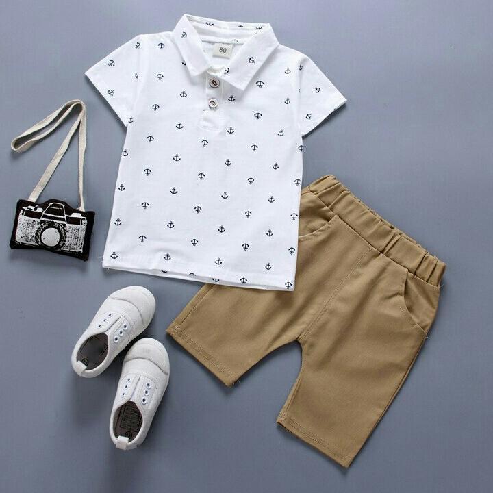 Setelan baju bayi/anak laki-laki kaos t-shirt dan celana pendek bahan katun