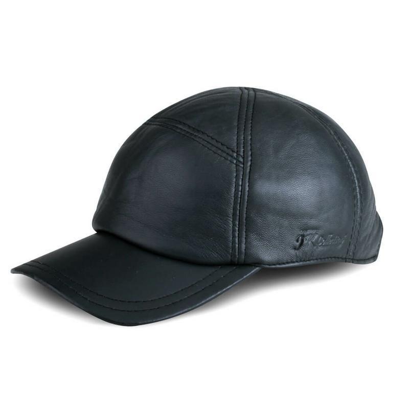 JK Collection Topi Baseball Kulit Pria Hitam - TP 002