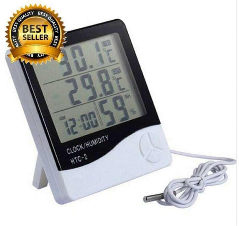 Kado Unik-- Termometer Suhu Ruangan Digital Htc-2 / Alat Ukur Kelembapan / Thermometer Hygrometer / Temperature Humidity Meter With Clock Alarm Hour Calendar / Thermometer Multifungsi / Termometer Suhu Ruangan Murah / Kado Ulang Tahun By Kado Unik--.