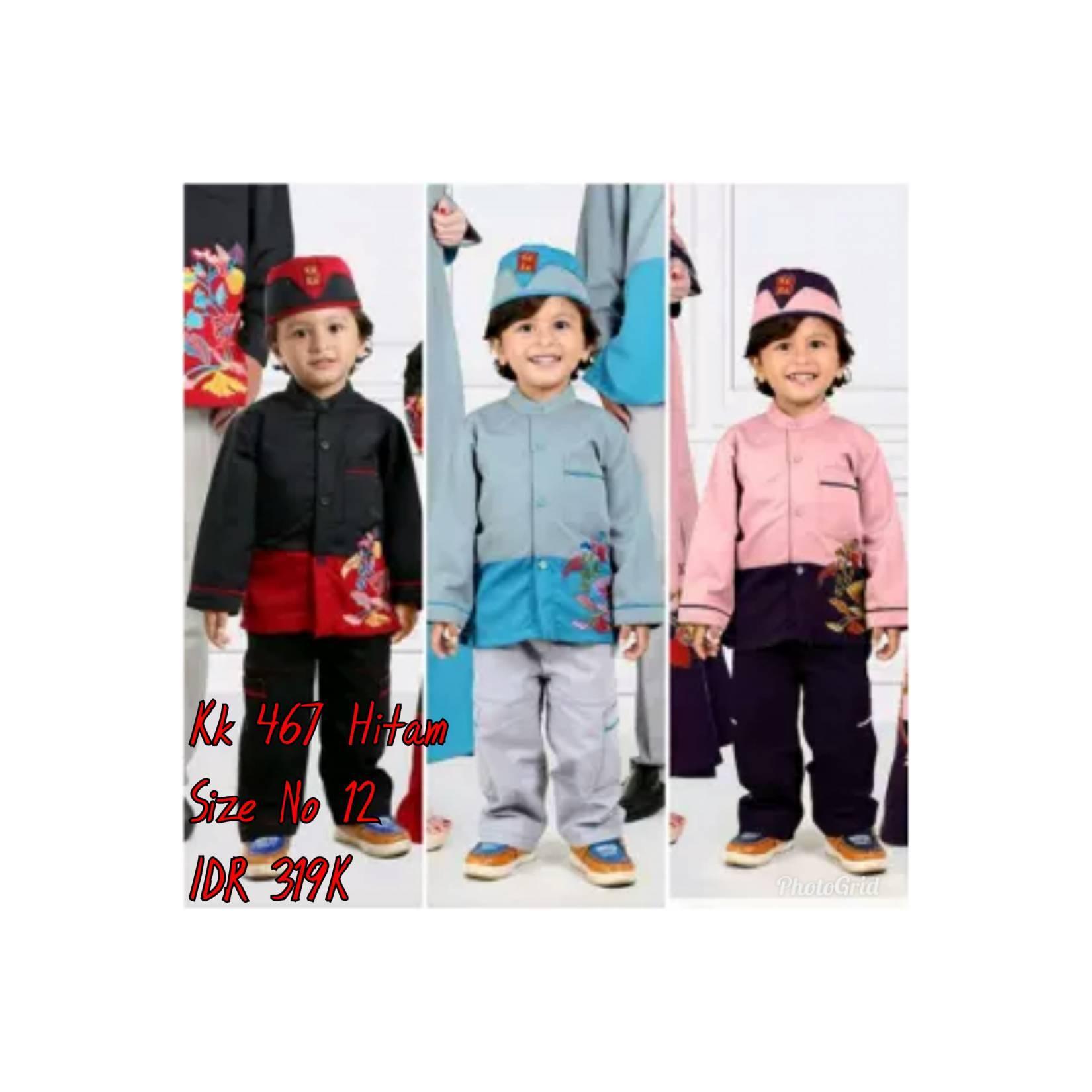Keke Baju Anak Muslim KK 467 Hitam No12 Diskon / Sale / Obral 25%