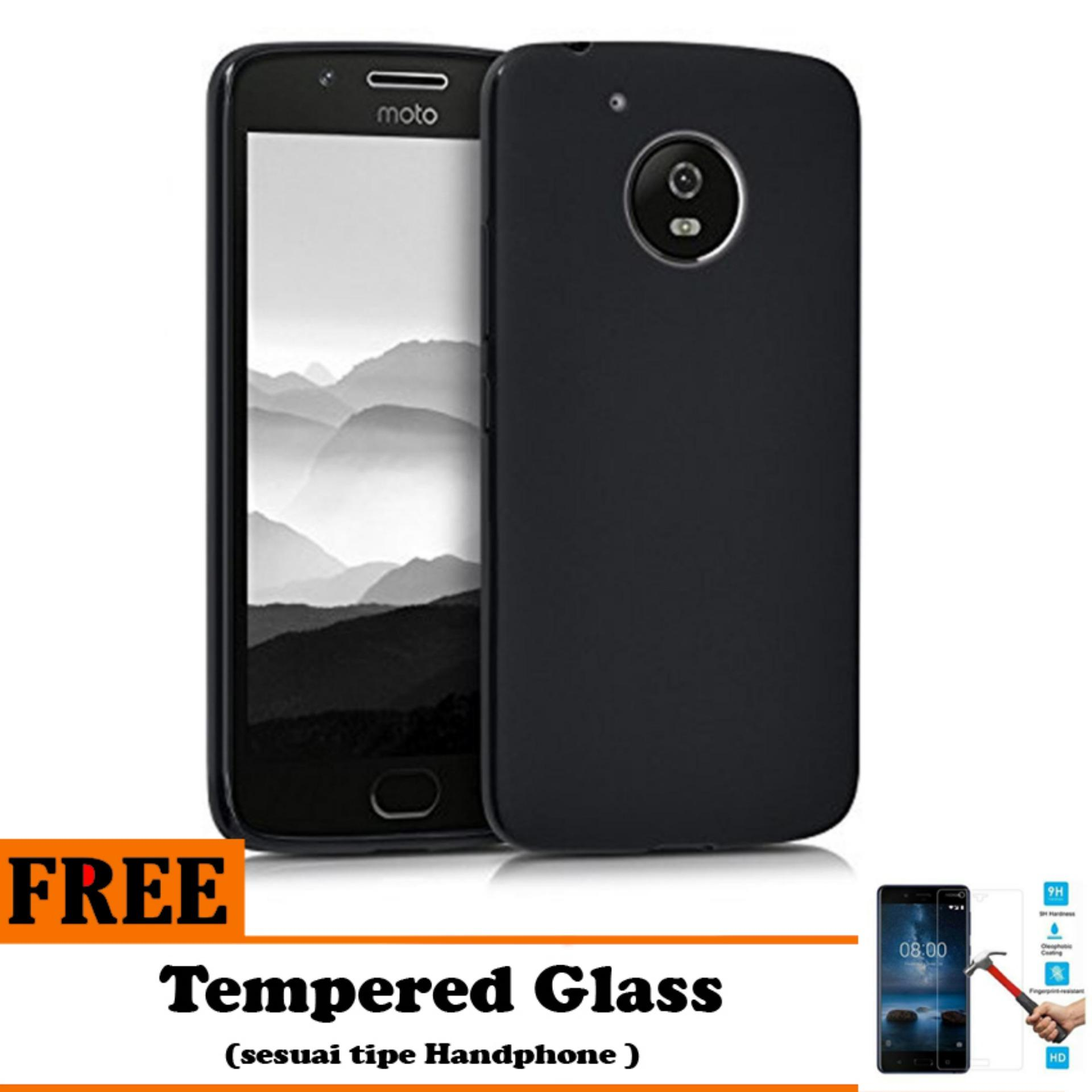 Barokah Premium  Slim Black Matte Shockproof Case for Motorola Moto E4 Plus   - Free Tempered Glass