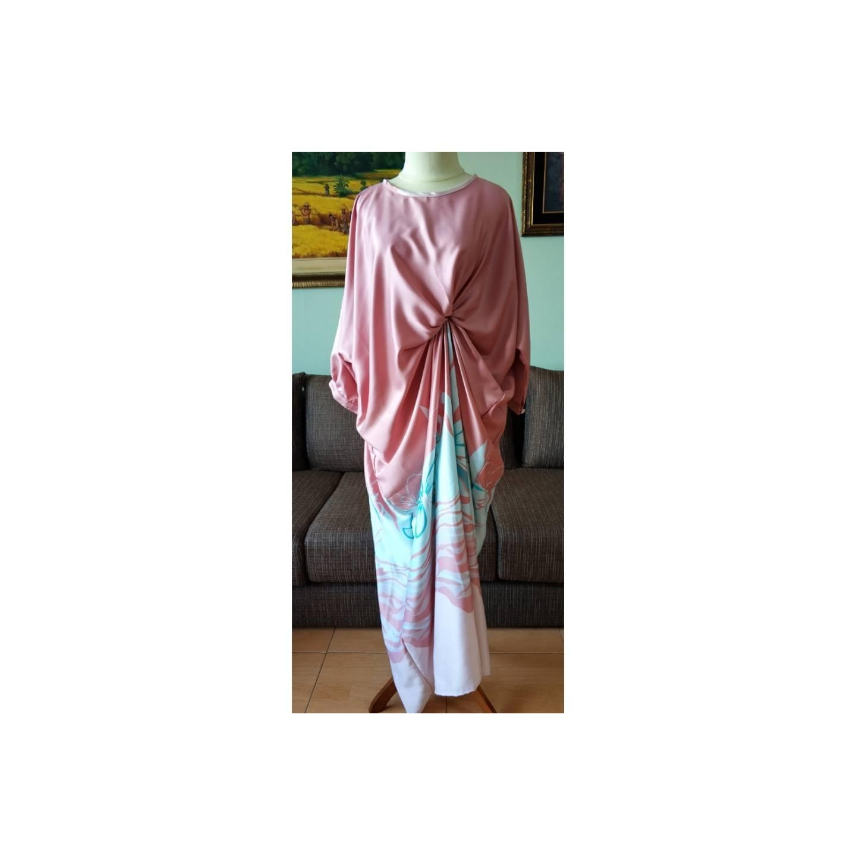Sweet Pink Side Folded Modern Kaftan